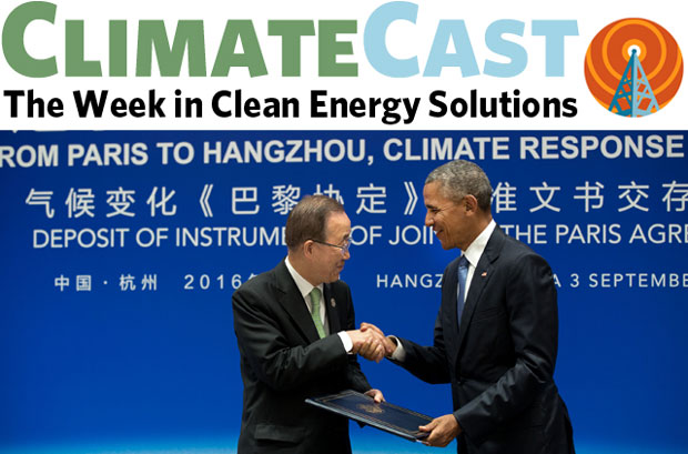 ClimateCast logo over shot of President Barack Obama shaking hands with UN Secretary-General Ban ki-Moon