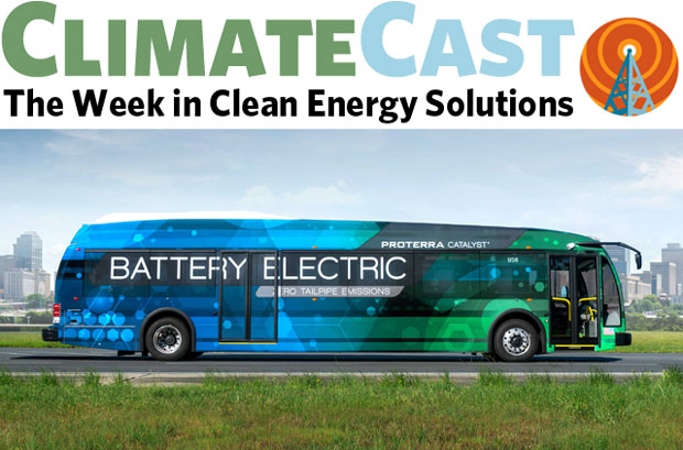 ClimateCast logo over artist's rendition of electric bus