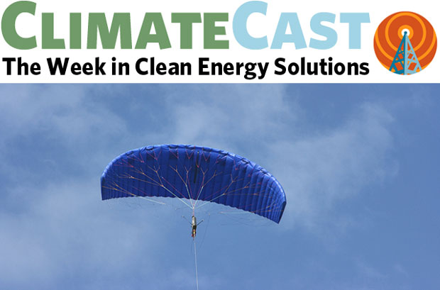 ClimateCast logo over windpower kite