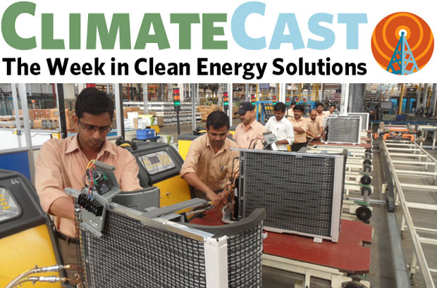 ClimateCast logo over Indian air-conditioner assembly line