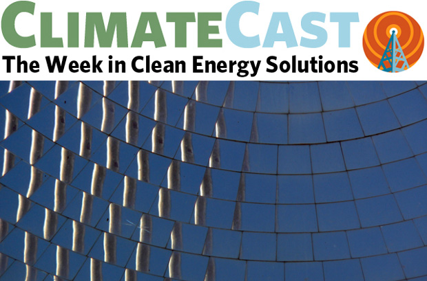 ClimateCast logo over section of concentrating solar collector