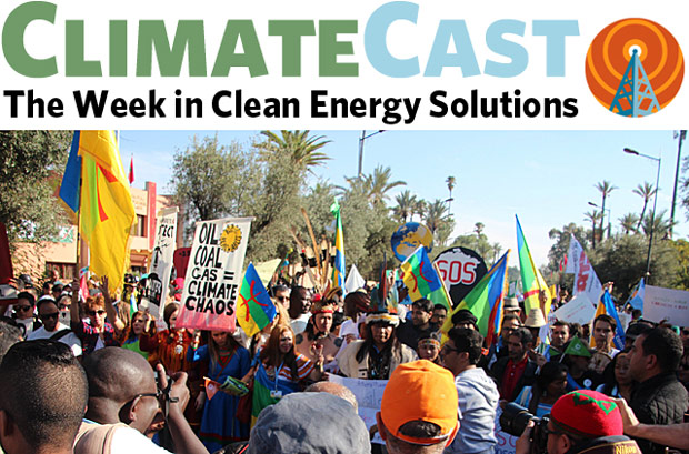 ClimateCast logo over scene of climate march in Marrakech at UN COP22