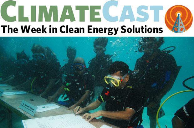 ClimateCast logo over Maldives cabinet underwater meeting