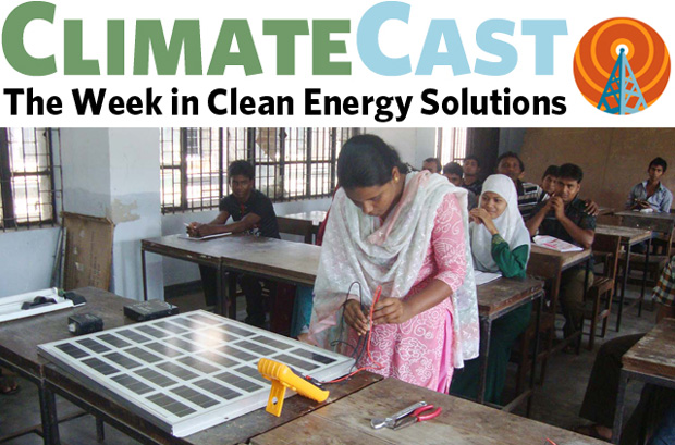 ClimateCast logo over trainee learning to service solar panels in Bangladesh