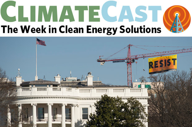 ClimateCast logo over White House with Resist banner