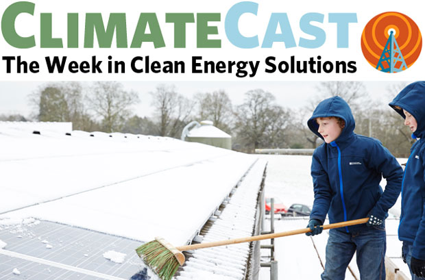 ClimateCast logo over photo of boys brushing snow off solar panels