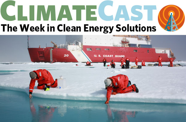 ClimateCast logo over researchers sampling melt ponds in sea ice