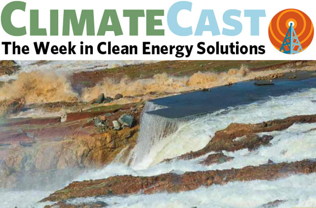 ClimateCast logo over flow from Oroville spillway