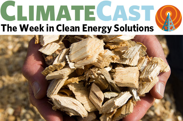 ClimateCast logo over hands holding wood chips