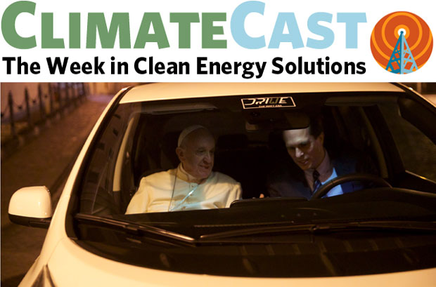 ClimateCast logo over Pope Francis in Vatican's new Nissan Leaf