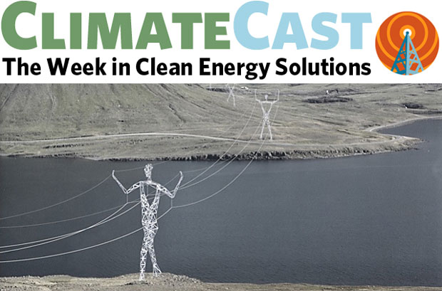 ClimateCast logo over artist's rendering of human-form transmission towers
