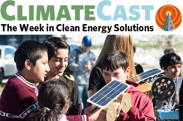 ClimateCast logo over photo of kids with solar electric model car