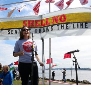 Annie Leonard, Shell No rally, April 2015