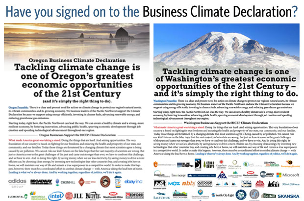 Business Climate Declaration sign on