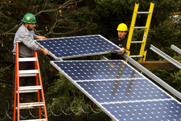 installing solar panels, Oregon Department of Transportation