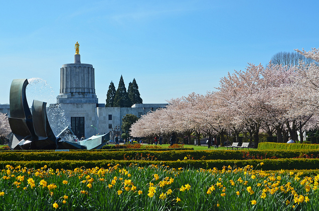 Oregon Capitol in spring, by Edmund Garman