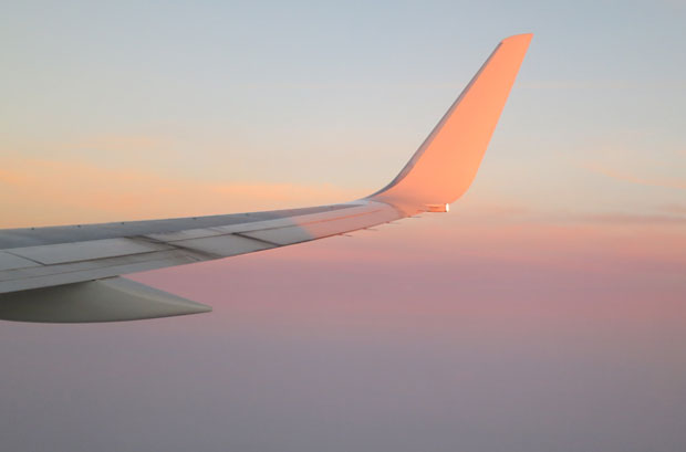 wingtip at sunset