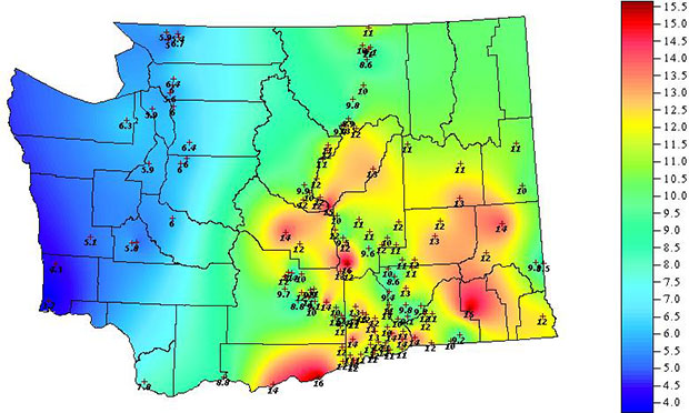 Evapotranspiration in Washington