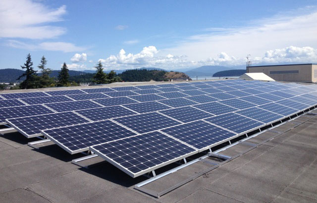 Solar on the roof at Anacortes Middle School